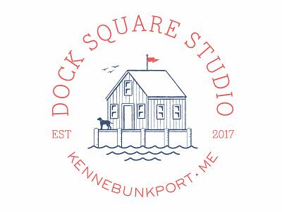 Dock Square Studio Logo graphic design badge new england illustration branding