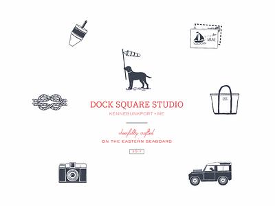 Dock Square Studio Submarks east coast labrador nautical land rover dog illustration identity design brand development branding