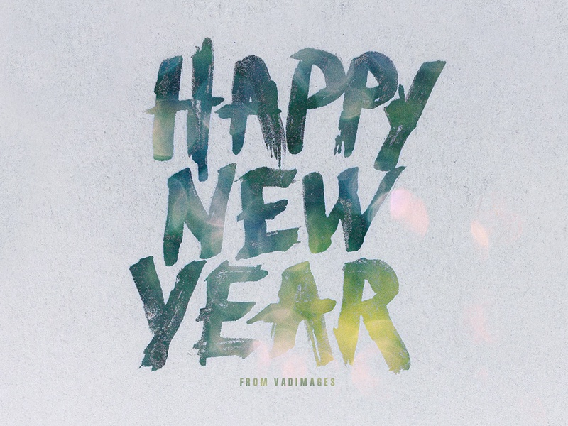 Happy New Year hand drawing hand writing happy new year calligraphy typography