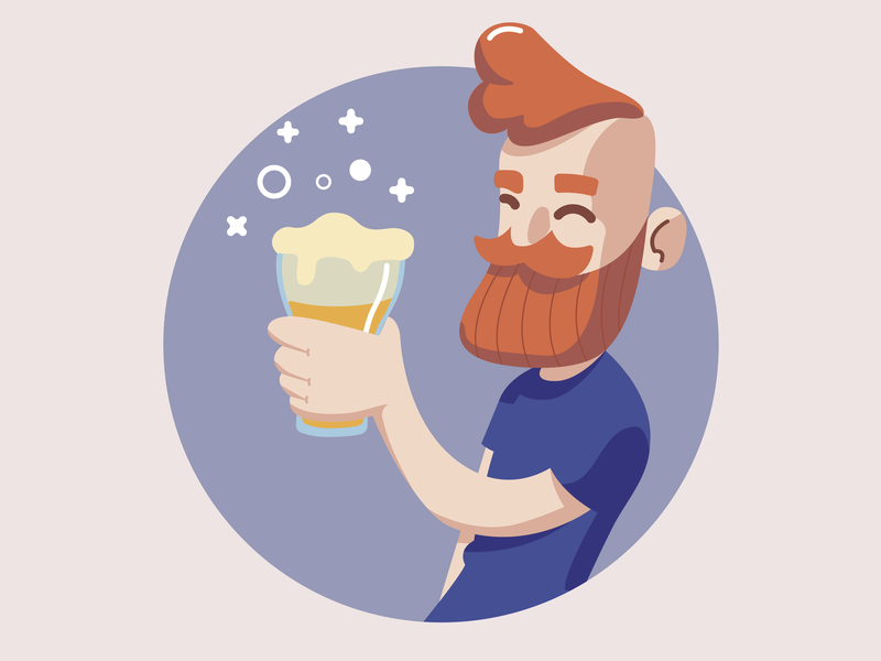 Have a beer character concept flat design vector illustration