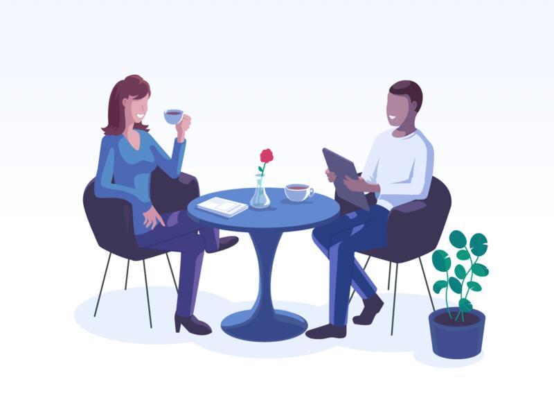 Humans & Software: Woven Illustration schedule woven illustrator restaurant table character dinner calendar startup marketing startup saas meeting hero image landing page isometric illustration vector