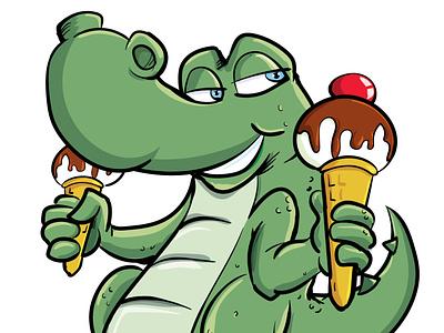 Cute croc with an ice cream adobeillustrator illustrator vector illustration cartoon