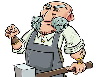 Cartoon Blacksmith humour medieval hammer character adobeillustrator illustrator vector illustration cartoon