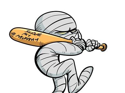 Baseball mummy humour adobeillustrator illustrator vector illustration cartoon