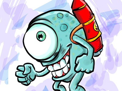 Monster with a rocket on his back humour character illustration cartoon