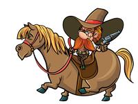Cute cartoon cowboy on his horse