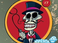 Cartoon skeleton ringmaster