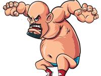 Cartoon wrestler