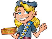 Cartoon Girl Guide selling cookies