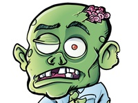 Cartoon zombie with his brains sticking out