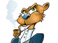 Cartoon vector Pipe smoking cat