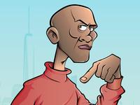 Cartoon man pointing down