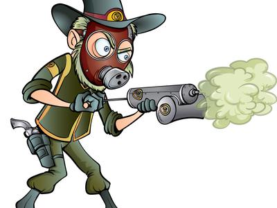 Steam punk western gas man
