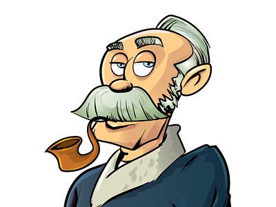 Cartoon character smoking a pipe adobeillustrator illustrator vector illustration cartoon