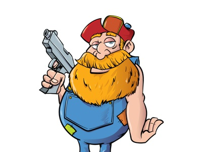 Redneck with his gun fun funny character adobeillustrator illustrator vector illustration cartoon
