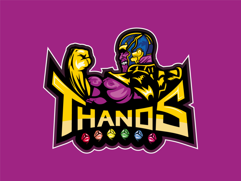 Thanos Team flat logo typogaphy evil gamer logo player gems space team logo game team illustrator comic art comics marvel