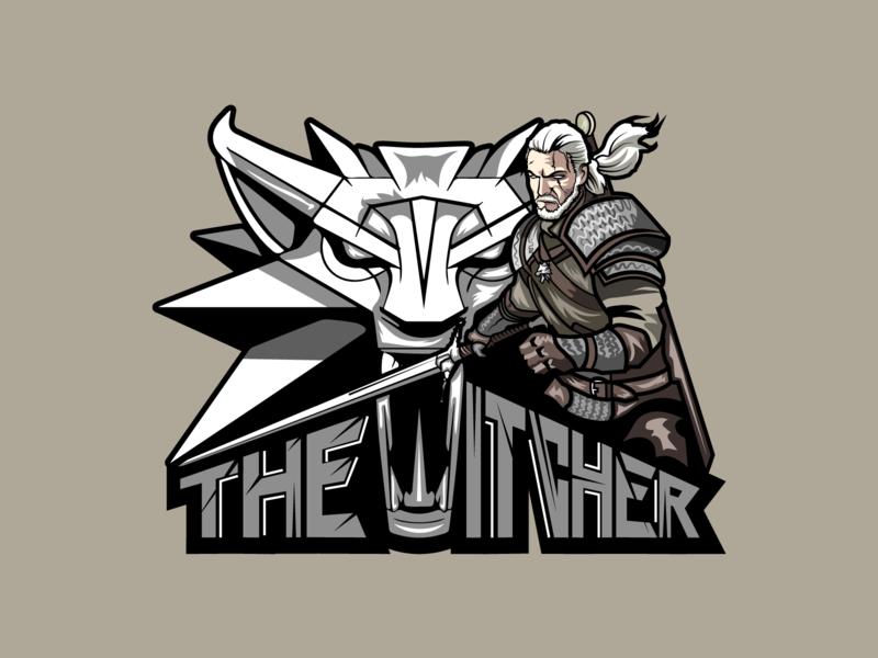 The Witcher wolf animal sword witcher geralt draw logotype logo design game art adobe illustration illustrator team player gamer logo game