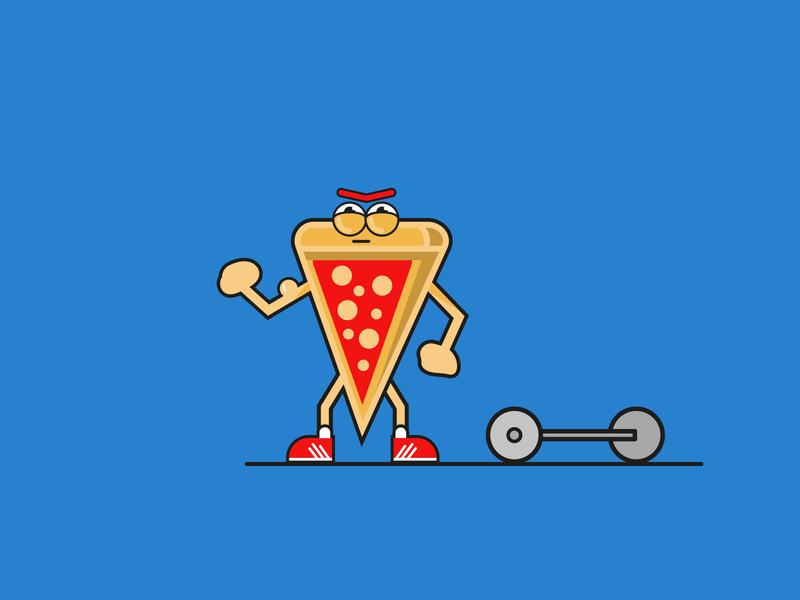 Pizza Strong adobe illustrators muscle gym streetfood food illustrator flat pizza