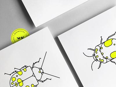 Coleoptera Beetles neon beetle poster design poster vector design illustration
