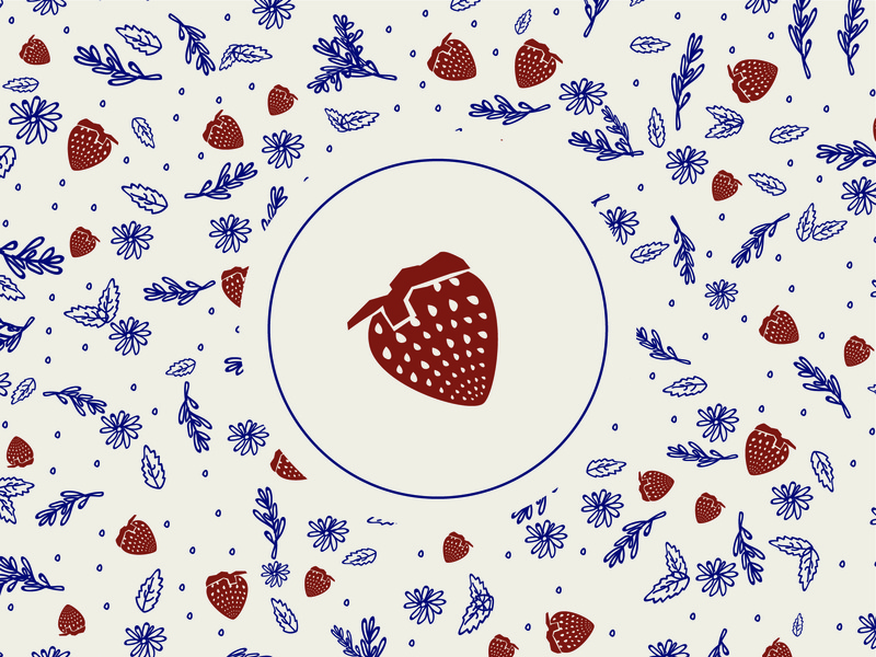 Strawberry Pattern fruit illustration strawberry illustration art pattern brush pattern library pattern a day pattern art fruit design strawberries illustration graphic design pack design packaging design strawberry pattern pattern design pattern
