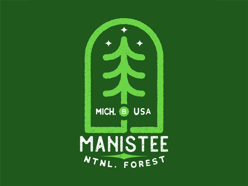 Manistee National Forest Apparel Design vintage illustration graphicdesign vintage design creative design vintage badges vintage badge apparel design artwork forest trees illustrator creative art typography illustration