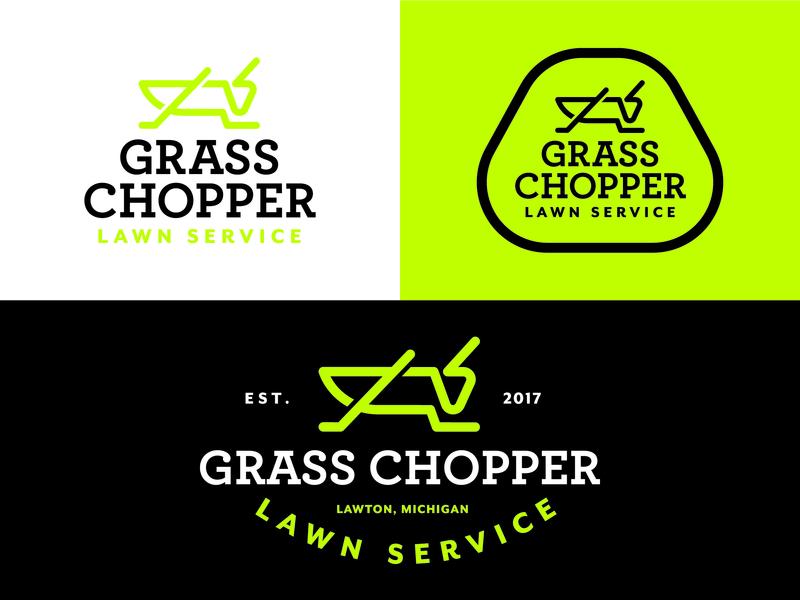 Grasschopper Lawn Service Branding company logo identity design vintage design grasshopper brand design logo design brand designer art logo creative typography customlogo design branding illustration