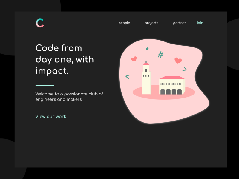 Stanford Code the Change Launch Page hack code social good student ui college dark background darkmode stanford