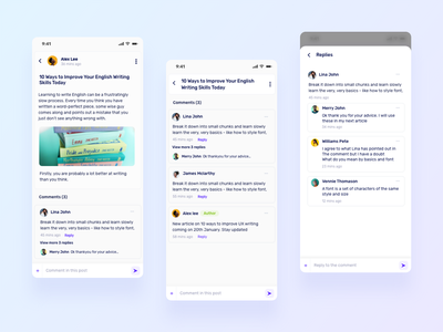 Blog and comments profile reply branding social comment blog flat ios app interaction design ux ui minimal design