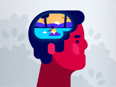 Memories is all we have... brain mind colorful character art illustrator 2d anatomy face memories flat branding forest blue environment scenary vector brush minimal illustration