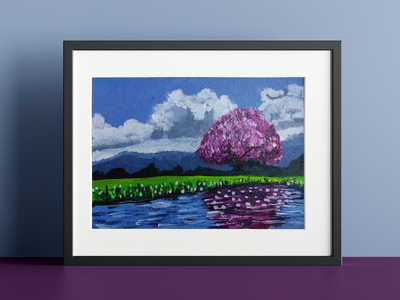 Trying out acrylic painting vector illustration branding graphic design natural nature shades clouds sky purple reflection trees design oil painting paints scenary acrylic painting