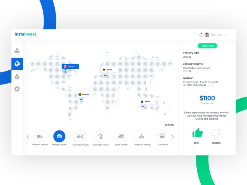 InstaInvest- Dashboard for your investment web dashboard ui dashboard flat design dashboad location dislike like industrial icon green blue map investment investing minimal branding ux ui interaction design design