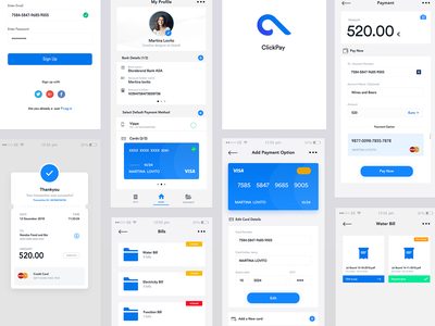 Full project - ClickPay - click to pay clean logo mobile ios branding design account interaction design payment app click credit card card bank blue minimal app payment ui ux