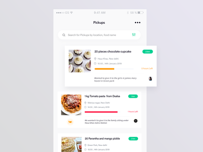 charity app - For NGO food donate distributed post interaction design uid search distance pickup comment progress orange yellow reduce green share charity list ux design