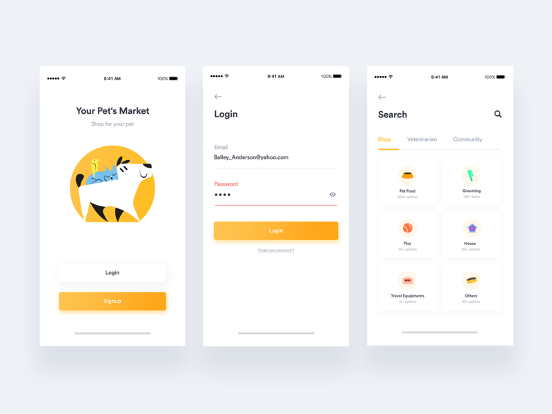 Petshop App + Free UI kit + 1 Dribbble Invite sign in branding minimal gradient interaction design ux ui design tab category dog food search ios animal yellow login shopping petcare cat dog