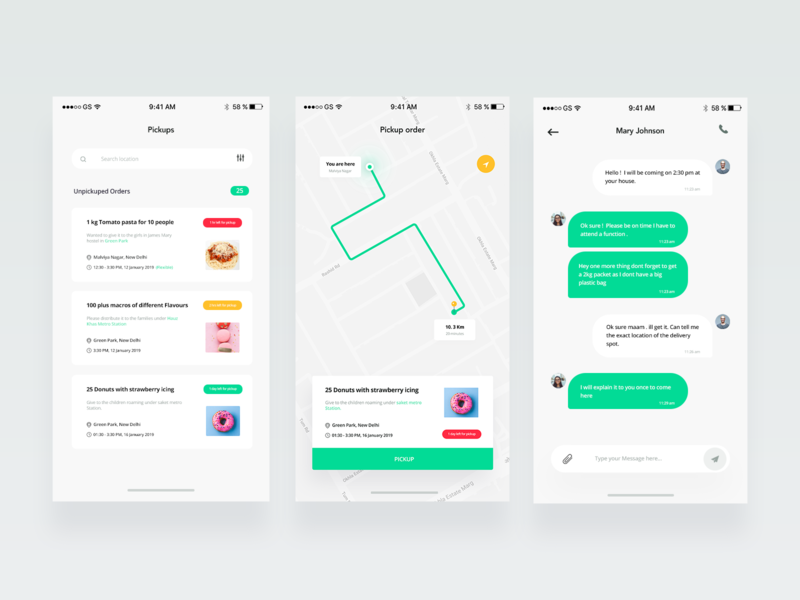 Sharity app Screens + Free UI kit ux ui distance call search location list ui food charity time alert green card message chat pickup order maps delivery list