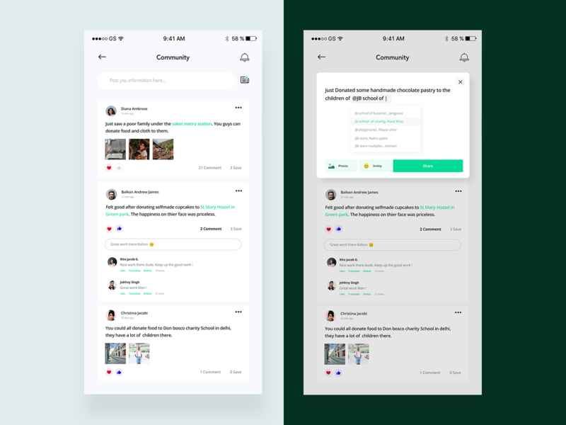 Community UI - Sharity App ios flat app minimal ux ui design location love social app notification reply like comment card community post ngo share green