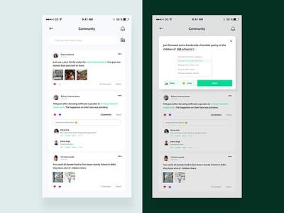 Community UI - Sharity App ios flat app minimal ux ui design location love social app notification reply like comment card community post ngo share green