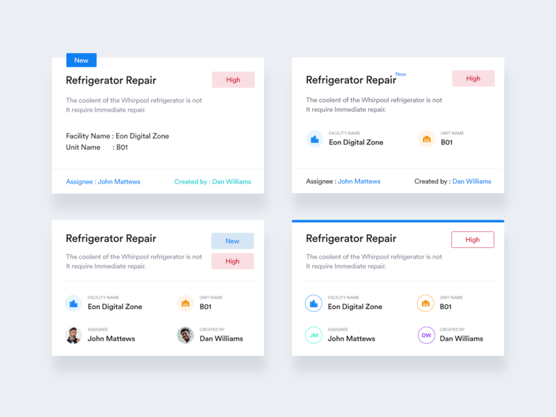 Cards layout for Work Order app created by clean redisign minimal flat design ux ui colors new priority order repair work order opacity blue layout cards design cards ui cards