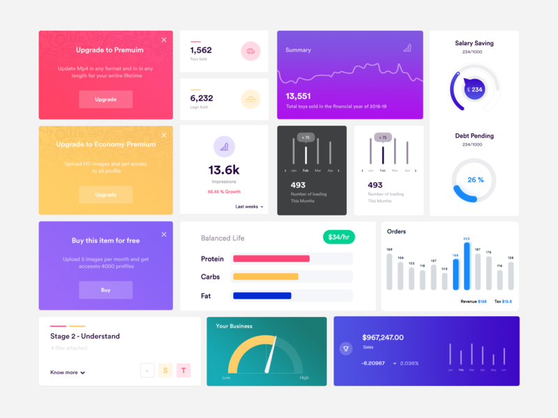 Free Dashboard Element - UI kit photoshop psd kit free flat opacity cards admin admin design info card line graph blue purple pie chart odometer bar graph analytic clean elements dashboard