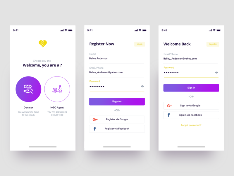 Sharity App login screen login screen mobile flat interaction design yellow icon purple ios branding gradient onboarding login photoshop ui ux simple minimal design clean app