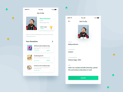 Profile Section of an app charity flat mobile ux ui interaction design yellow minimal cards gamification profile design green donations ios edit profile design clean branding app