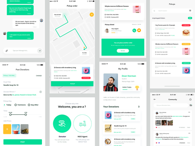 Full project - Sharity app ios design ui ux branding minimal list ui donation yellow green form chat pickup community location maps delivery list charity