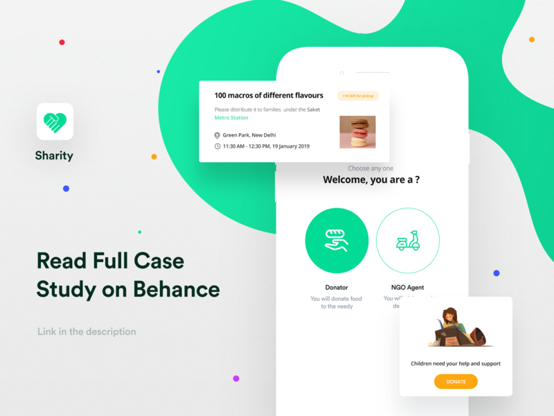 Sharity UI/UX Case Study food logo vector app flat illustration interaction design branding ui ux minimal design case study ios green yellow donate charity share sharity