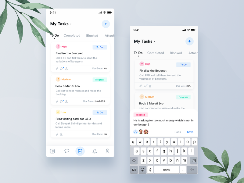 Tarea - Manage Event Tasks UI   +  2 Dribbble Invite priority todoist comment icon client mobile flat interaction design ios branding minimal ui ux design task list work card hr management task app