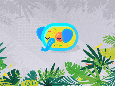Elephant cell under microscope design studio digitalart illustrator shade character animal yellow blue green icon branding elephant leaves design logo color gradient minimal vector illustration