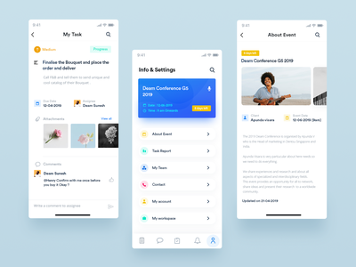 Tarea -Event Managment UI + Free PSD event app flat minimal design ux ui interaction design branding setting task list task management task aboutus work in progress todo todo list work event management event app