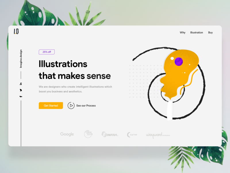 Imagine.design website header + Free PSD flat navigation menu vector typography illustration yellow draw branding brush ui minimal header illustration illustrator tablet sketch abstact website free psd header