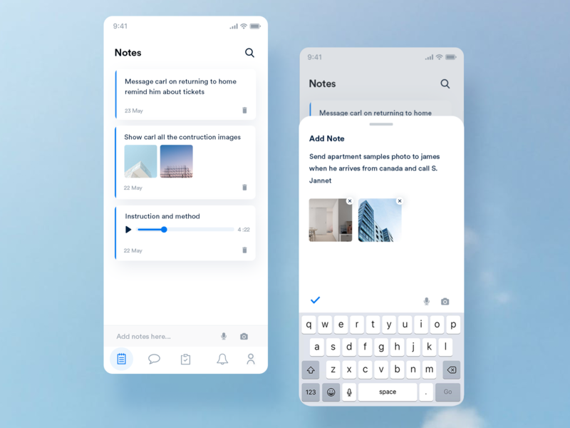 Tarea - Manage Event  Notes UI slider mobile blue app flat ios interaction design branding ux ui minimal design event camera audio reminder message notebook add notes notes