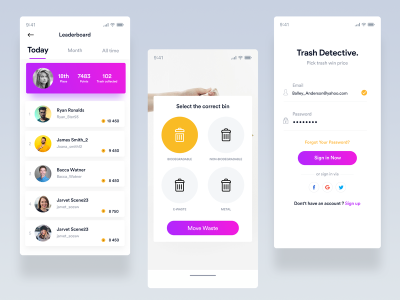 Trash detective UI app branding ux ios interaction design minimal ui design popup gradient form login sign in leaderboard yellow purple earth recycle enviroment trash