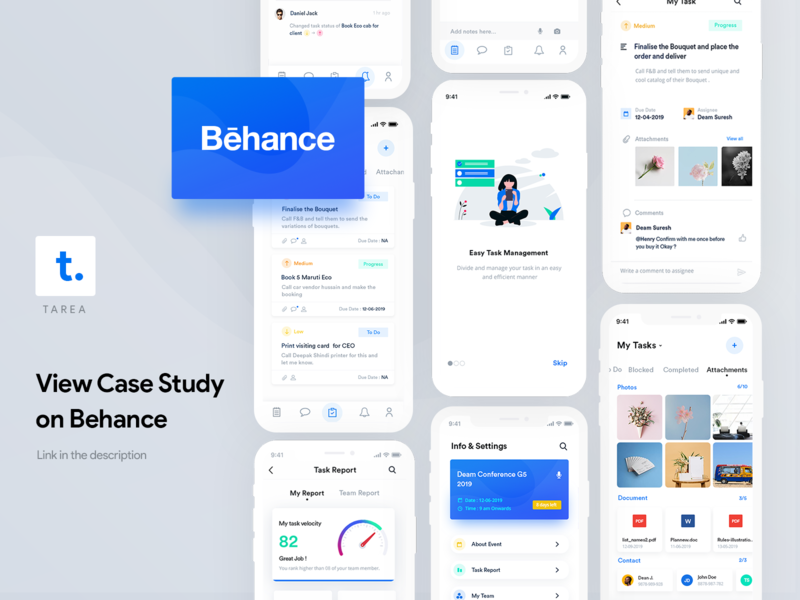 Tarea UI/UX Case Study blue app design tarea mobile app logo user experience behance management event illustration ios flat interaction design ui ux minimal design case study branding app